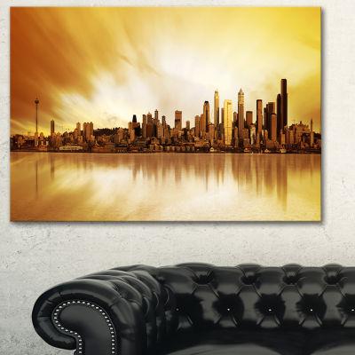 Designart Seattle Panorama Landscape Photography Canvas Art Print - 3 Panels