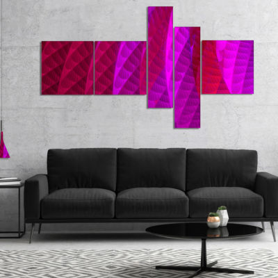 Designart Layered Pink Psychedelic Design Multipanel Abstract Canvas Art Print - 5 Panels