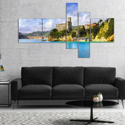 Designart Lerici Village Panorama Multipanel Seascape Canvas Art Print - 4 Panels