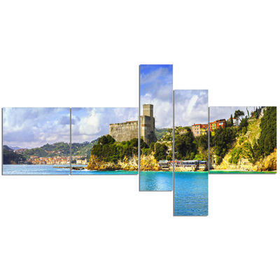 Designart Lerici Village Panorama Multipanel Seascape Canvas Art Print - 5 Panels