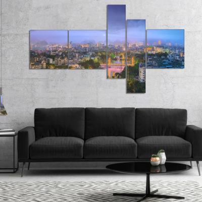 Designart Li River And Karst Hills Panorama Multipanel Cityscape Canvas Art Print - 4 Panels