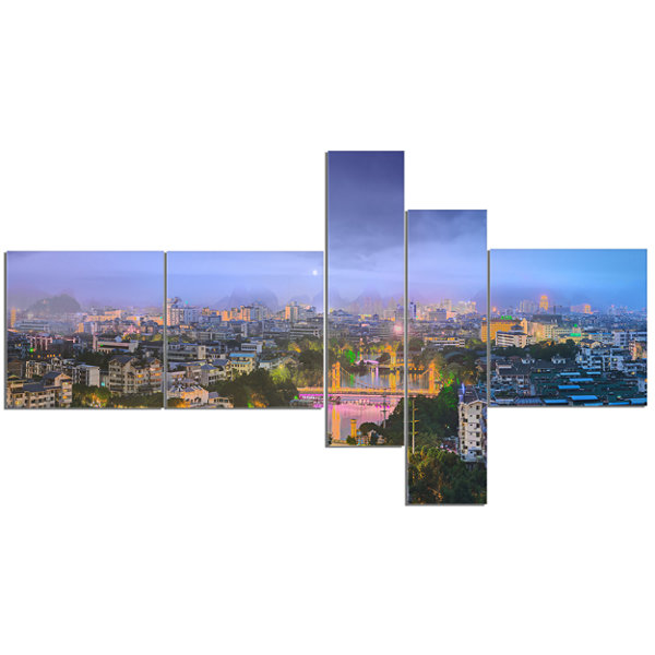 Designart Li River And Karst Hills Panorama Multipanel Cityscape Canvas Art Print - 5 Panels