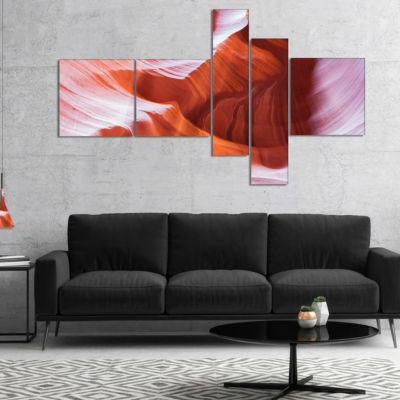 Designart Antelope Canyon Brown Wall Multipanel Landscape Photography Canvas Print - 4 Panels