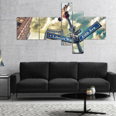 Designart Library Way And 5Th Avenue Street SignsMultipanel Modern Cityscape Canvas Art Print - 4 Panels