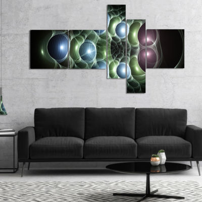 Designart Light Blue 3D Surreal Circles MultipanelAbstract Art On Canvas - 5 Panels