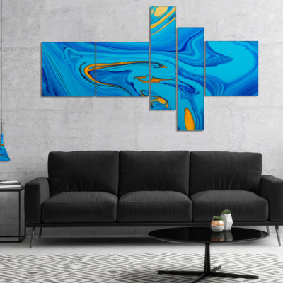 Designart Light Blue Abstract Acrylic Paint Mix Multipanel Abstract Art On Canvas - 5 Panels