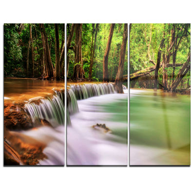 Designart Secodn Level Erawan Waterfall Photography Canvas Art Print - 3 Panels