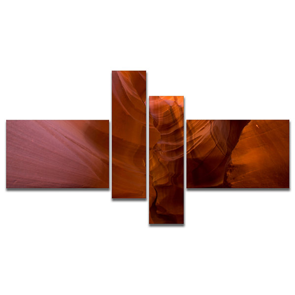 Designart Antelope Canyon Crack Multipanel Landscape Photography Canvas Print - 4 Panels