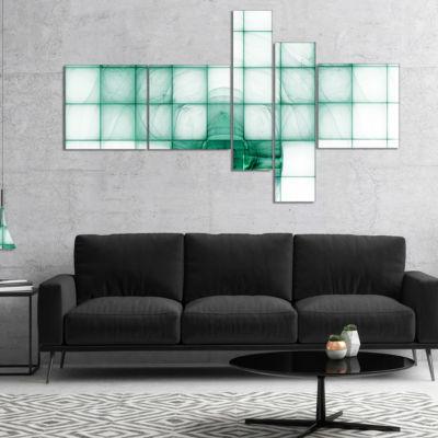 Designart Light Blue Bat On Radar Screen Multipanel Abstract Canvas Art Print - 5 Panels