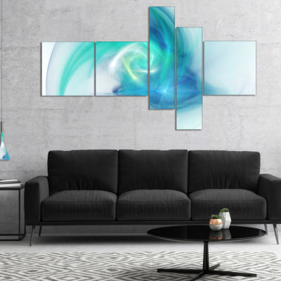 Designart Light Blue Fractal Abstract Texture Multipanel Abstract Canvas Wall Art - 4 Panels