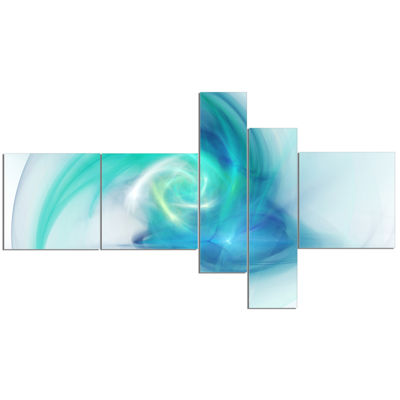 Designart Light Blue Fractal Abstract Texture Multipanel Abstract Canvas Wall Art - 5 Panels