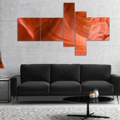 Designart Antelope Canyon Details Multipanel Landscape Photo Canvas Art Print - 4 Panels