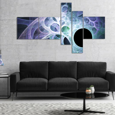 Designart Light Blue Fractal Angel Wings Multipanel Abstract Wall Art Canvas - 5 Panels