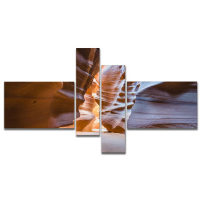 Designart Antelope Canyon Glow Inside Multipanel Landscape Photography Canvas Print - 4 Panels