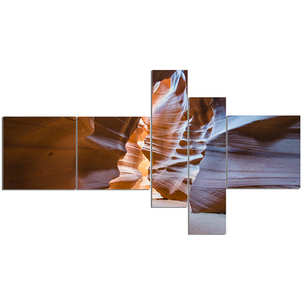 Designart Antelope Canyon Glow Inside MultipanelLandscape Photography Canvas Print - 5 Panels