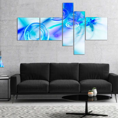 Designart Light Blue Fractal Desktop Multipanel Large Abstract Art - 5 Panels