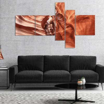 Designart Antelope Canyon High Structures Multipanel Landscape Photography Canvas Print - 5 Panels