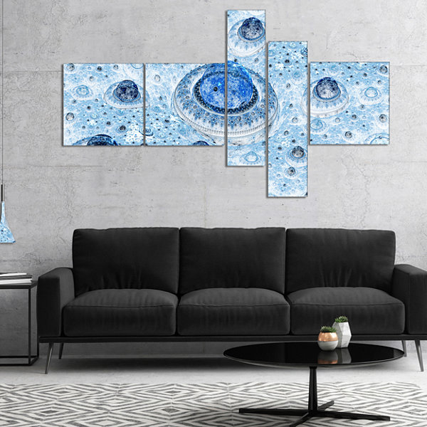Designart Light Blue Fractal Exotic Planet Multipanel Abstract Canvas Art Print - 4 Panels