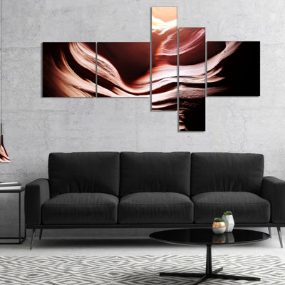 Designart Antelope Canyon In Brown Shade Multipanel Landscape Photography Canvas Print - 5 Panels