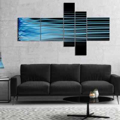 Designart Light Blue Fractal Flames Multipanel Abstract Art On Canvas - 5 Panels