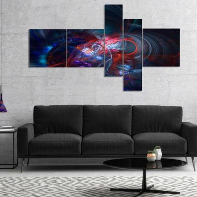 Design Art Light Blue Fractal Flower In Dark Multipanel Floral Canvas Art Print - 5 Panels