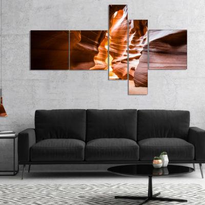 Designart Antelope Canyon In Sunshine MultipanelLandscape Photo Canvas Art Print - 4 Panels