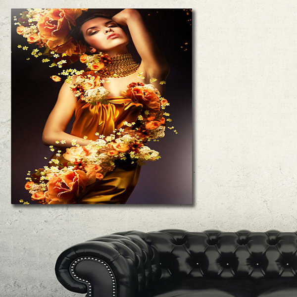 Designart Sensual Woman In Flower Robes AbstractPortrait Canvas Art Print - 3 Panels