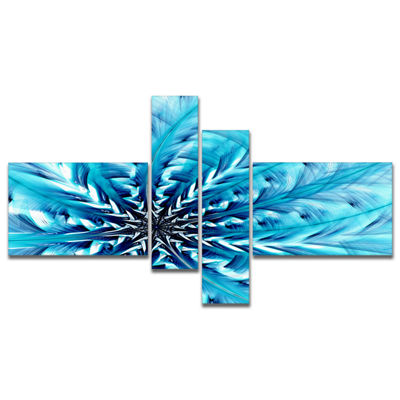 Designart Light Blue Fractal Flower Pattern Multipanel Abstract Wall Art Canvas - 4 Panels