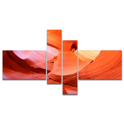 Designart Antelope Canyon Inside Multipanel Landscape Photo Canvas Art Print - 4 Panels