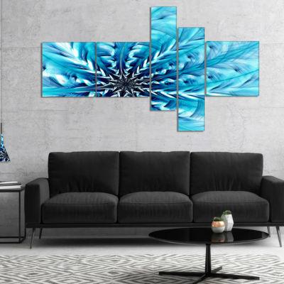 Designart Light Blue Fractal Flower Pattern Multipanel Abstract Wall Art Canvas - 5 Panels