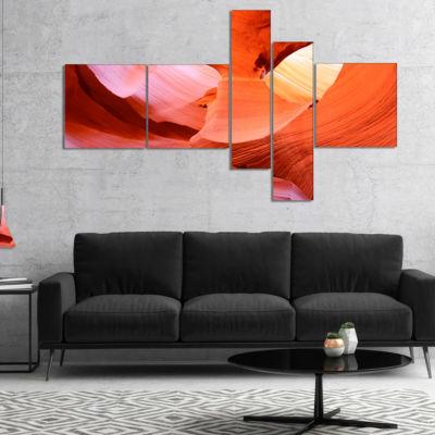 Designart Antelope Canyon Inside Multipanel Landscape Photo Canvas Art Print - 5 Panels