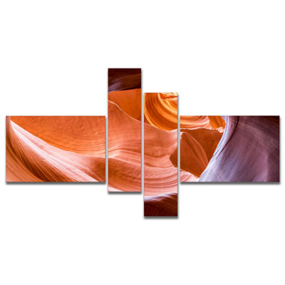 Designart Antelope Canyon Inside View MultipanelLandscape Photography Canvas Print - 4 Panels