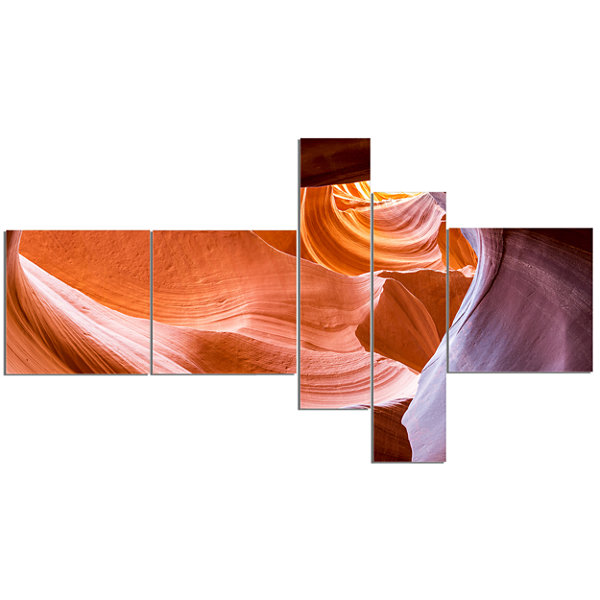 Designart Antelope Canyon Inside View MultipanelLandscape Photography Canvas Print - 5 Panels