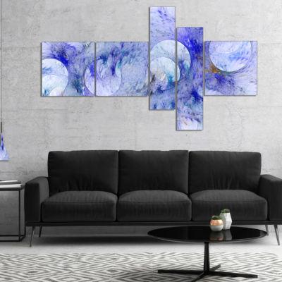 Designart Light Blue Fractal Glass Texture Multipanel Abstract Canvas Art Print - 5 Panels