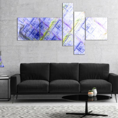 Designart Light Blue Fractal Grill Multipanel Abstract Art On Canvas - 4 Panels