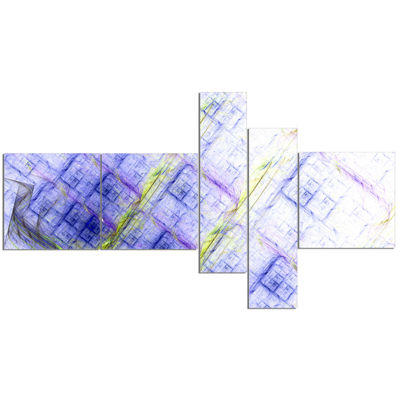Designart Light Blue Fractal Grill Multipanel Abstract Art On Canvas - 5 Panels