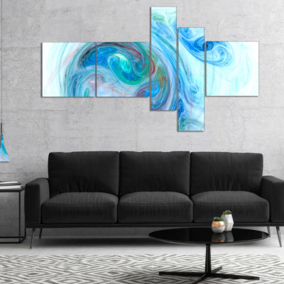 Designart Light Blue Fractal Illustration Multipanel Abstract Canvas Wall Art - 5 Panels