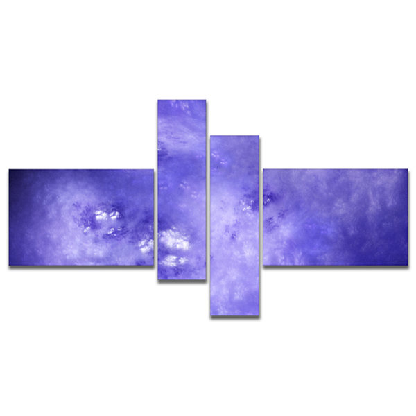 Designart Light Blue Fractal Sky With Stars Multipanel Abstract Canvas Art Print - 4 Panels