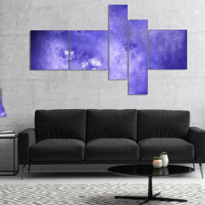 Designart Light Blue Fractal Sky With Stars Multipanel Abstract Canvas Art Print - 5 Panels