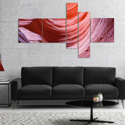 Designart Antelope Canyon Purple Wall MultipanelLandscape Photography Canvas Print - 4 Panels