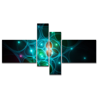Designart Light Blue Fractal Space Circles Multipanel Abstract Canvas Art Print - 4 Panels