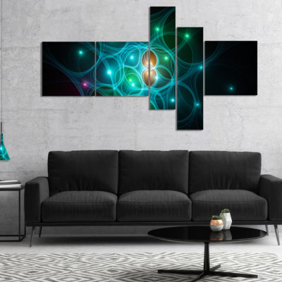 Designart Light Blue Fractal Space Circles Multipanel Abstract Canvas Art Print - 5 Panels