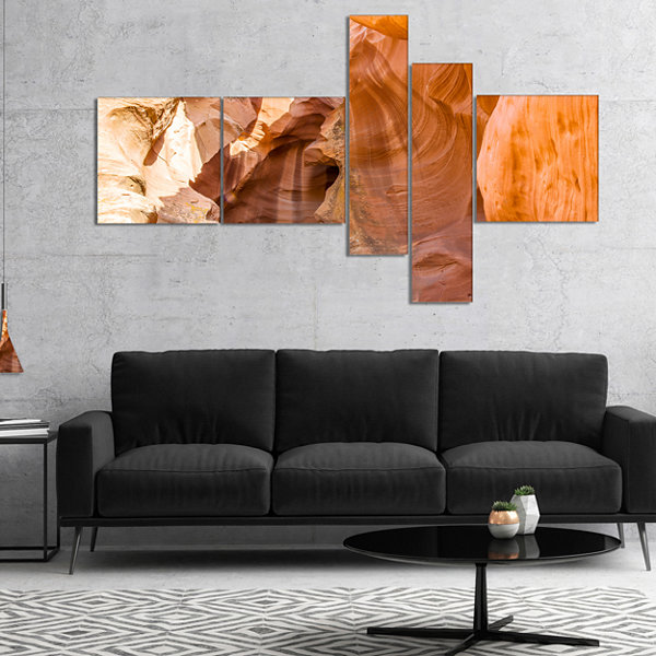 Designart Antelope Canyon Sandstone Multipanel Landscape Photo Canvas Art Print - 5 Panels