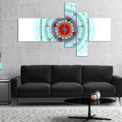 Designart Light Blue Fractal Sphere Multipanel Abstract Wall Art Canvas - 5 Panels
