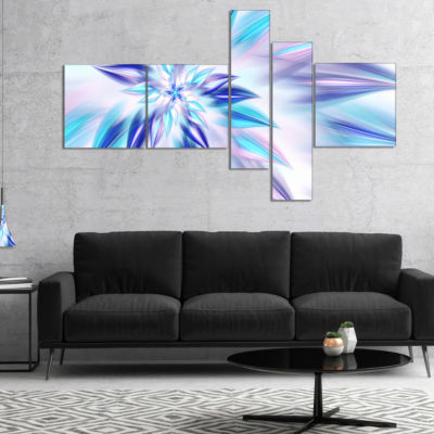 Design Art Light Blue Fractal Spiral Flower Multipanel Abstract Canvas Art Print - 4 Panels