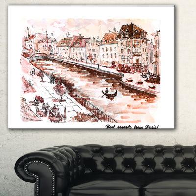 Designart Sepia Hand Drawn Sketch Of Paris Cityscape Canvas Art Print - 3 Panels