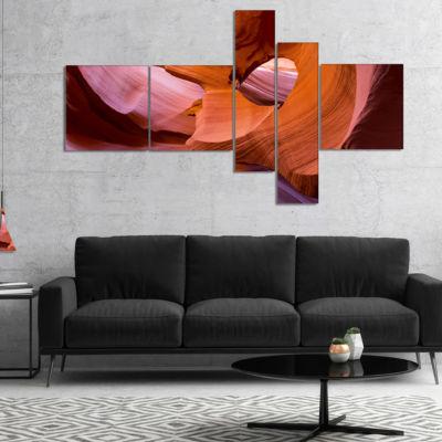 Design Art Antelope Canyon Sandstone Waves Multipanel Landscape Photography Canvas Print - 5 Panels