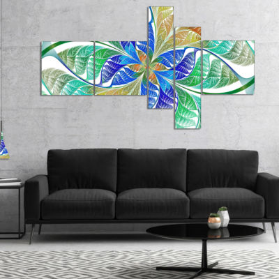 Designart Light Blue Fractal Stained Glass Multipanel Abstract Canvas Art Print - 4 Panels