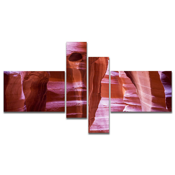 Designart Antelope Canyon Structures Multipanel Landscape Photography Canvas Print - 4 Panels