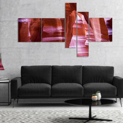Designart Antelope Canyon Structures Multipanel Landscape Photography Canvas Print - 5 Panels